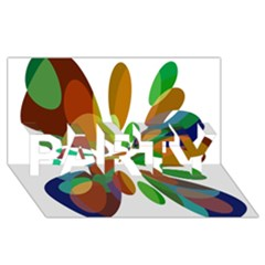 Colorful abstract flower PARTY 3D Greeting Card (8x4)