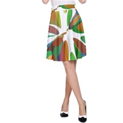 Colorful abstract flower A-Line Skirt