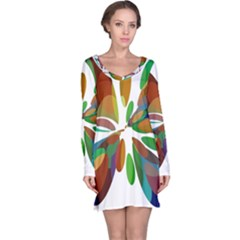 Colorful abstract flower Long Sleeve Nightdress