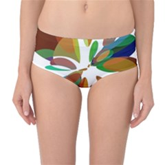 Colorful abstract flower Mid-Waist Bikini Bottoms
