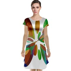 Colorful abstract flower Cap Sleeve Nightdress