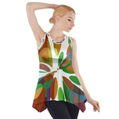 Colorful abstract flower Side Drop Tank Tunic
