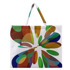 Colorful Abstract Flower Zipper Large Tote Bag