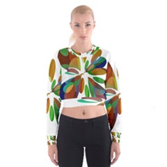 Colorful abstract flower Women s Cropped Sweatshirt