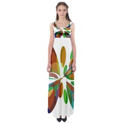 Colorful abstract flower Empire Waist Maxi Dress