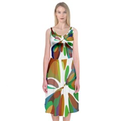 Colorful Abstract Flower Midi Sleeveless Dress