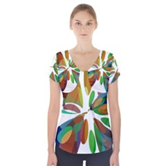 Colorful Abstract Flower Short Sleeve Front Detail Top