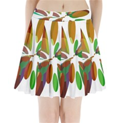 Colorful abstract flower Pleated Mini Mesh Skirt