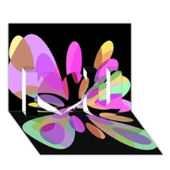 Pink abstract flower I Love You 3D Greeting Card (7x5)