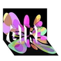 Pink abstract flower GIRL 3D Greeting Card (7x5)