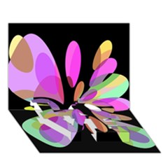 Pink abstract flower LOVE Bottom 3D Greeting Card (7x5)