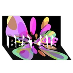 Pink abstract flower BEST SIS 3D Greeting Card (8x4)