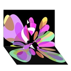 Pink abstract flower Ribbon 3D Greeting Card (7x5)