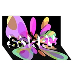 Pink abstract flower SORRY 3D Greeting Card (8x4)
