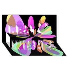 Pink abstract flower Best Wish 3D Greeting Card (8x4)