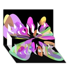 Pink abstract flower You Rock 3D Greeting Card (7x5)