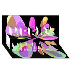 Pink abstract flower Merry Xmas 3D Greeting Card (8x4)
