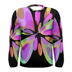 Pink abstract flower Men s Long Sleeve Tee
