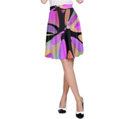 Pink abstract flower A-Line Skirt