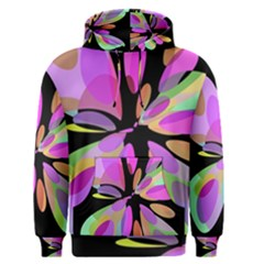 Pink abstract flower Men s Pullover Hoodie