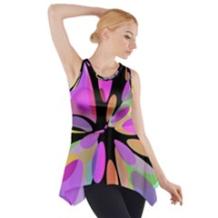Pink abstract flower Side Drop Tank Tunic