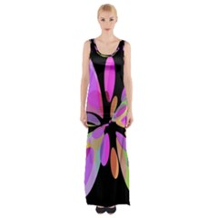 Pink abstract flower Maxi Thigh Split Dress