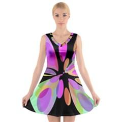 Pink abstract flower V-Neck Sleeveless Skater Dress