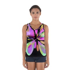 Pink abstract flower Women s Sport Tank Top