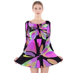 Pink abstract flower Long Sleeve Velvet Skater Dress