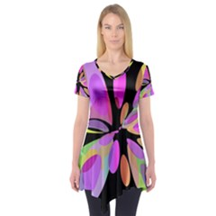 Pink abstract flower Short Sleeve Tunic