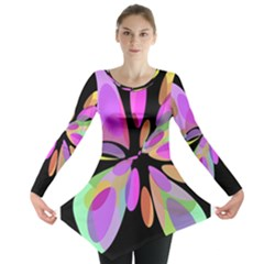 Pink abstract flower Long Sleeve Tunic