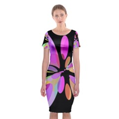 Pink abstract flower Classic Short Sleeve Midi Dress