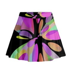 Pink abstract flower Mini Flare Skirt