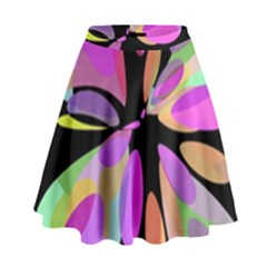 Pink Abstract Flower High Waist Skirt