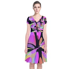 Pink Abstract Flower Short Sleeve Front Wrap Dress