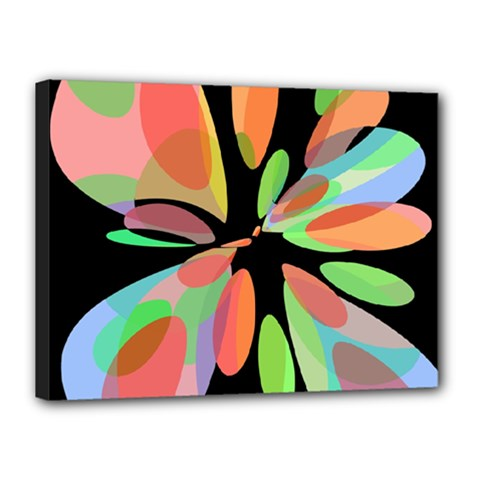 Colorful abstract flower Canvas 16  x 12