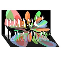 Colorful abstract flower Happy Birthday 3D Greeting Card (8x4)