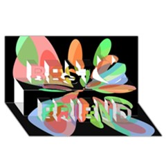 Colorful abstract flower Best Friends 3D Greeting Card (8x4)