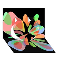 Colorful abstract flower Heart 3D Greeting Card (7x5)