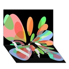 Colorful abstract flower LOVE Bottom 3D Greeting Card (7x5)