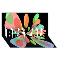 Colorful abstract flower BEST SIS 3D Greeting Card (8x4)