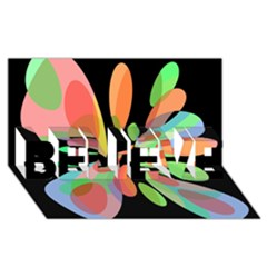 Colorful abstract flower BELIEVE 3D Greeting Card (8x4)