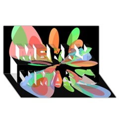 Colorful abstract flower Merry Xmas 3D Greeting Card (8x4)