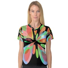 Colorful abstract flower Women s V-Neck Sport Mesh Tee