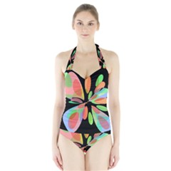 Colorful abstract flower Halter Swimsuit