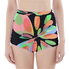 Colorful Abstract Flower High Waisted Bikini Bottoms