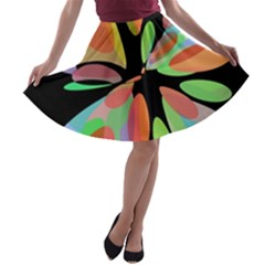 Colorful abstract flower A-line Skater Skirt
