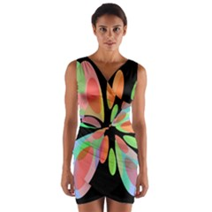 Colorful abstract flower Wrap Front Bodycon Dress