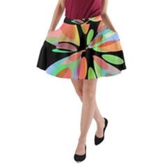 Colorful abstract flower A-Line Pocket Skirt