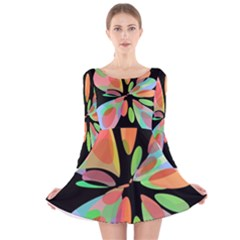 Colorful abstract flower Long Sleeve Velvet Skater Dress